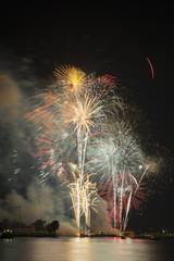Firework at Wat arun under new year 2016 celebration time, Thail