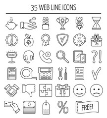 Set of linear web icons. Line icons for business, web development and landing page. Flat design. Vector