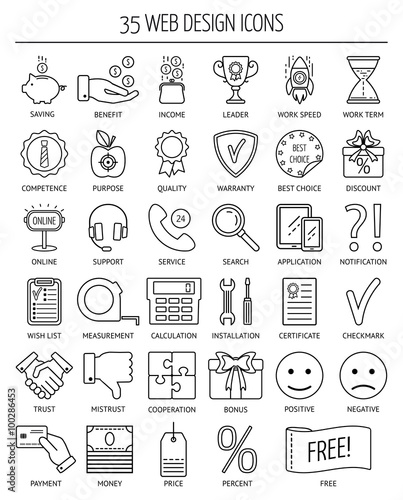 35 linear web icons. Line icons for business, web development and ...