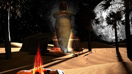 3D genie in an Arabian desert with palm trees, full moon and camels