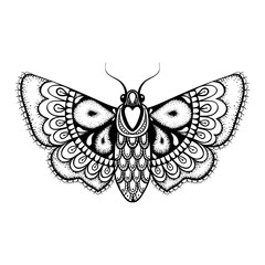 Hand drawn artistically black Butterfly, cute ornamental pattern