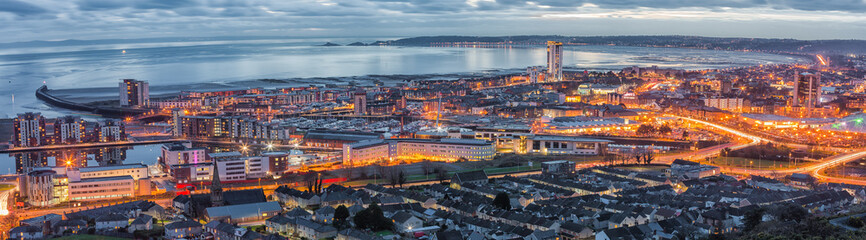 An evening view of Swansea centre and the Bay area taken from Kilvey Hill January 2016 Wall mural