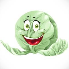 Cartoon smiling White cabbage isolated on white background