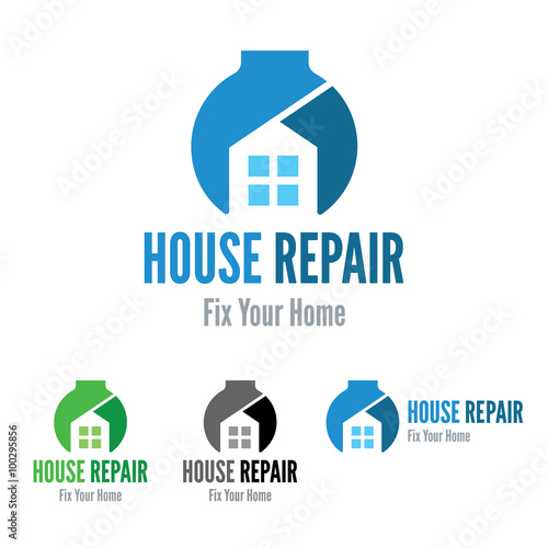 House Repair Company Vector Logo Template Home Fix Service DIY Building