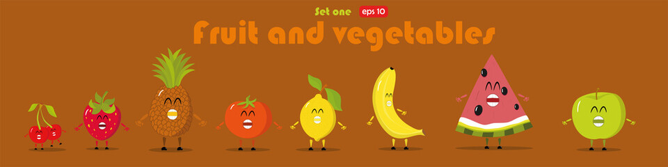 Cartoon fruits and vegetables in flat style. Strawberry, banana, apple, pineapple, tomato, cherry, lemon, watermelon