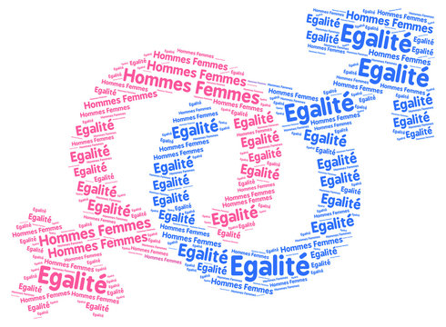 Men and women sex equality sign in french