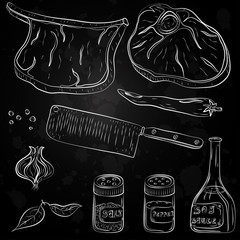 vector hand drawn food. cooking meat sketch