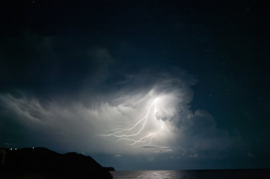 Lightning from the cloud.