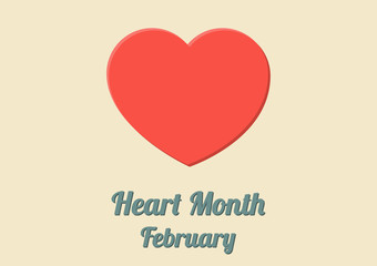 Poster for Heart Month (February) with big red heart