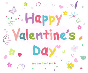 Happy Valentine's day doodle greeting card background