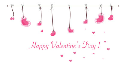 Valentine's Day card with hanging sweet hearts vector greeting card