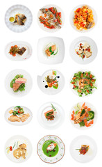 Set of various fish dishes isolated on white
