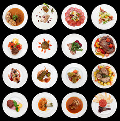 Set of various meat dishes isolated on black