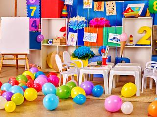 Interior of kids game room in preschool  kindergarten.