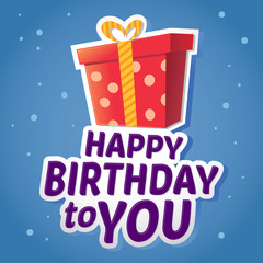 Happy Birthday Greetings Sticker With Present