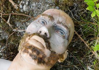 Lancashire, England, 06/08/2013, Abandoned theme park mannequins left to decay