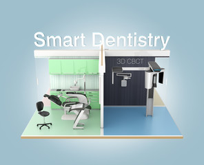 Front view of dental clinic with 'Smart Dentistry' text. 3D rendering image with clipping path. Original design.
