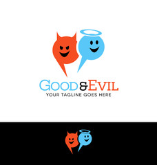 Logo design of angel and devil talk bubble characters for business or website