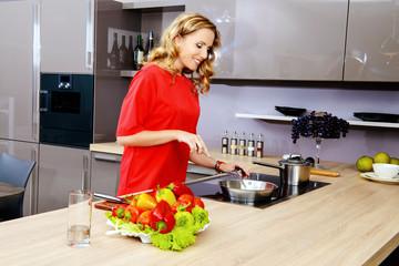 lady on a kitchen
