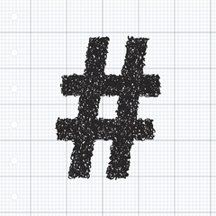 Simple doodle of a hash tag