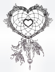 Heart shaped dream catcher with feathers.