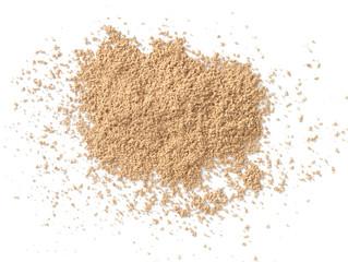 crushed powder makeup on white background