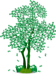 Money tree isolated on white background. Symbol, dollar, business. Vector illustration.