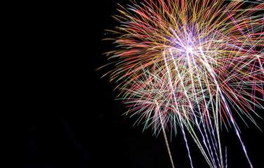 Fireworks on dark sky