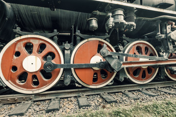 Wheels of vintage steam train