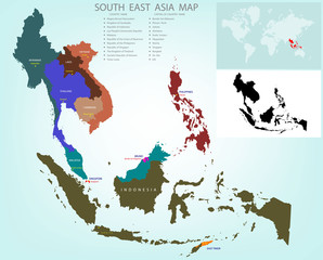 Map of Southeastern Asia divided by the countries /Country names and capital A caption The black and white images tell spot on the world map.