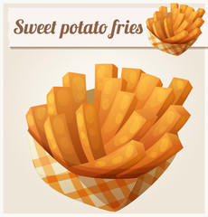Sweet potato fries in paper box. Detailed vector icon