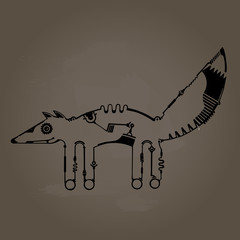 steampunk fox, dark background
