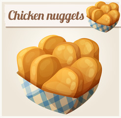Chicken nuggets in the paper basket. Detailed vector icon