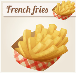 French fries in the paper basket. Detailed vector icon