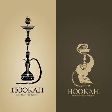 Set of two beige and brown hookah logos