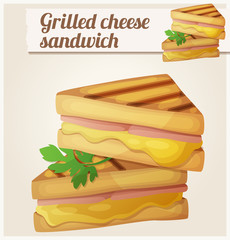 Grilled cheese sandwich. Detailed vector icon