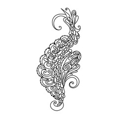 hand drawn monochrome ornament for desing