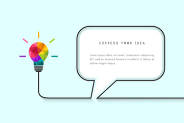 Speech bubble template with low poly lightbulb as idea concept