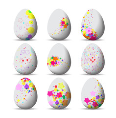 Set colorful Easter eggs and happy easter