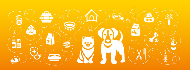 Animal pets grooming and health care vector flat horizontal header banner. Background with silhouettes icons of cat and dog, food, toys and accessories. Pet shop, vet clinic concept