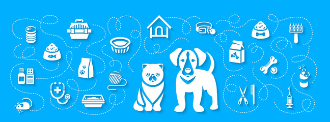 Animal pets grooming and health care vector flat horizontal header banner. Background with silhouettes icons of cat and dog, food, toys and accessories. Pet shop, vet clinic concept with shadows