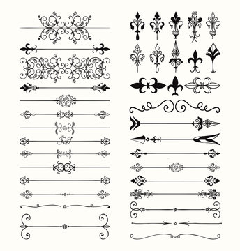 Vector Black Hand Drawn Dividers, Arrows, Swirls
