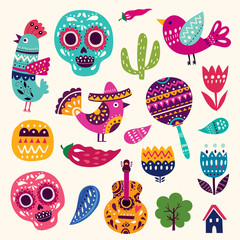 Illustration with symbols of Mexico