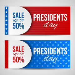 Modern vector horizontal banners, page headers with text for Presidents Day. Banners with stripes and stars in the colors of the American flag. Sale, discount theme.
