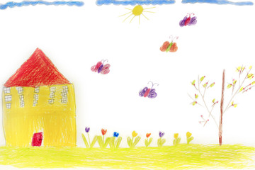 Childish drawing of house flowers and butterflies