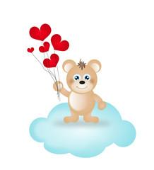 Teddy bear wih hearts on cloud