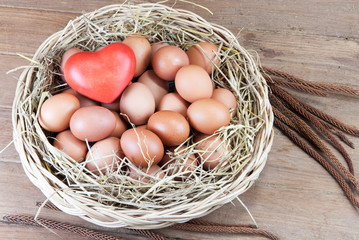 Red heart and eggs in a basket