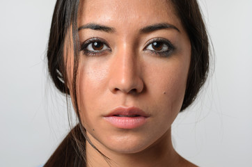 Woman with serious blank stare