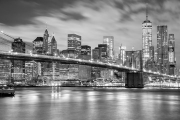 Manhattan and Brooklyn Bridge black and white, New York