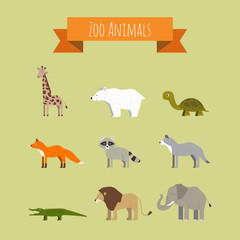 Set of Vector Zoo Wild Animals
